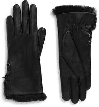Agnelle Side Tie Genuine Rabbit Fur Lined Lambskin Leather Gloves