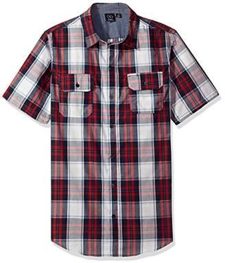 Burnside Men's Detractor Short Sleeve Button up Printed Shirt
