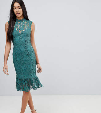 Paper Dolls Tall High Neck Lace Dress With Peplum Hem