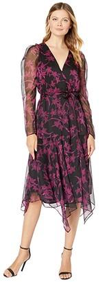 Vince Camuto Long Sleeve Iris Silhouette Asymmetrical Hem Wrap Front Dress