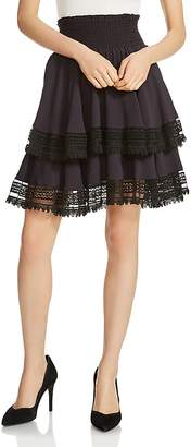Maje Jaglia Tiered Lace-Trim Skirt