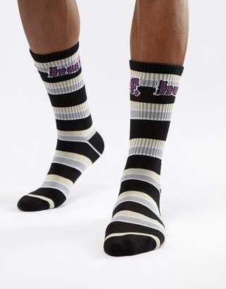 HUF 1993 striped socks in black
