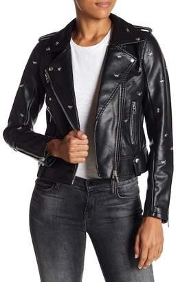 Blank NYC BLANKNYC Denim Dragonfly Stud Moto Faux Leather Jacket