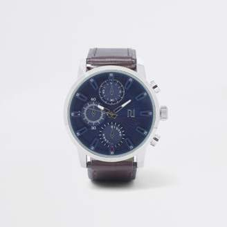 River Island Brown large blue round face watch