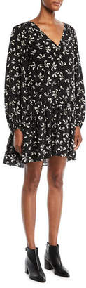 Elizabeth and James Carlotta V-Neck Long-Sleeve Floral-Print Slim Peplum Dress