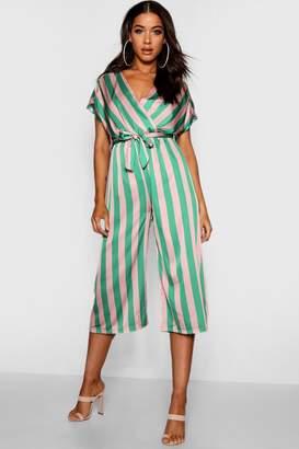 boohoo Wrap Tie Detail Wide Stripe Culotte Jumpsuit