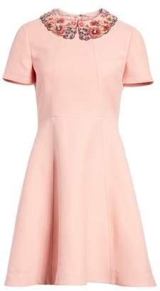 Valentino Embellished Collar A-Line Dress