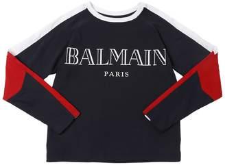Balmain Color Block Cotton Jersey T-Shirt