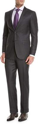 Canali Plaid Super 150s Wool Two-Piece Suit, Gray