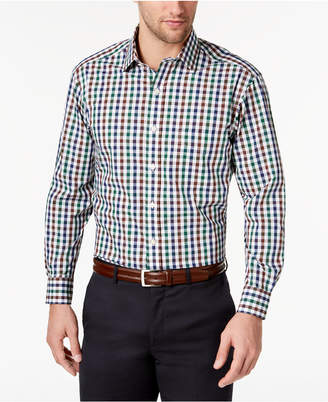 Club Room Men's Slim-Fit Gingham Check Performance Dress Shirt, Created for Macy's