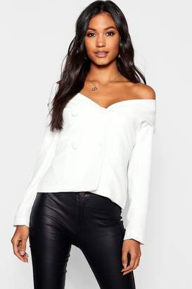 boohoo Off The Shoulder Covered Button Blazer