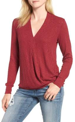 Bobeau Faux Wrap Knit Top (Regular & Petite)