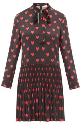 RED Valentino Heart Print Pussy Bow Crepe Dress - Womens - Black Multi