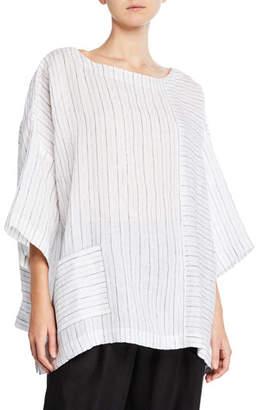 eskandar 3/4-Sleeve Striped Linen Tunic