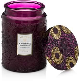 Voluspa Japonica Santiago Huckleberry Large Embossed Glass Jar Candle