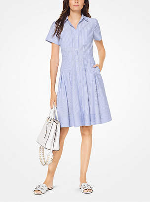 Michael Kors Striped Cotton Pleated Shirtdress
