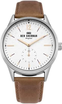 Ben Sherman Men's 'Spitalfields Vinyl Geo' Quartz Silver-Tone and Leather Casual Watch, Color Brown (Model: WB015T)