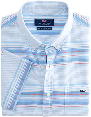 Vineyard Vines Short-Sleeve Sand Piper Stripe Oxford Slim Tucker Shirt