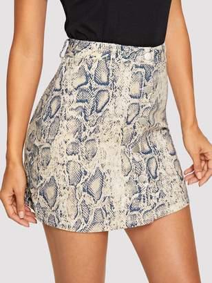 8d8725e976 Shein Snake Skin Print Button Up Skirt