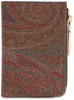 Etro Paisley Faux Leather Zip Wallet