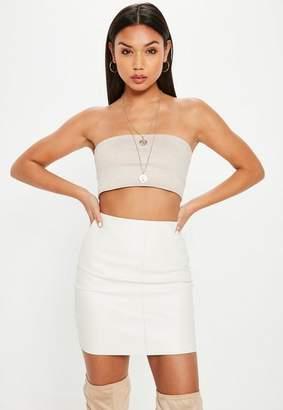 Missguided Petite Cream PU Mini Skirt