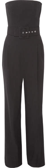 Michael Kors Collection - Strapless Belted Wool-crepe Jumpsuit - Black