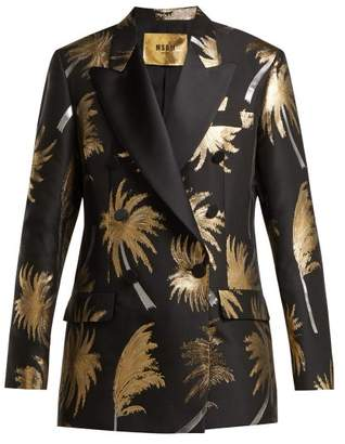 MSGM Metallic Jacquard Double Breasted Tuxedo Jacket - Womens - Black Gold