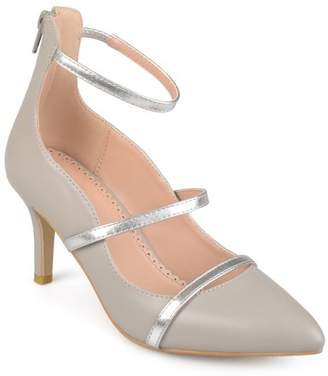 Brinley Co. Women's Faux Leather Pointed Toe Ankle Strap Heels