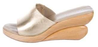 Donald J Pliner Metallic Leather Wedge Sandals