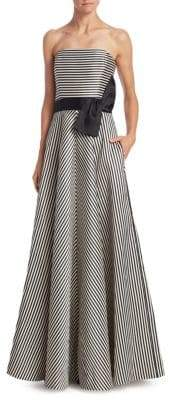 Halston Strapless Stripe Bow Gown