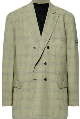 Balenciaga Green Oversized Double-Breasted Checked Virgin Wool Blazer