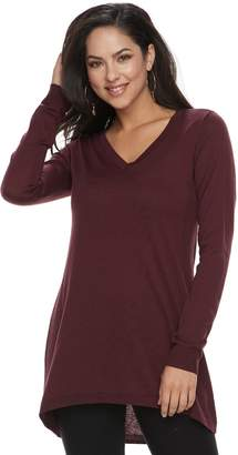 Apt. 9 Petite High-Low V-Neck Tunic Sweater
