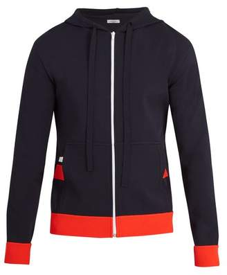 Valentino Hooded Stripe Applique Jersey Zip Up Sweatshirt - Mens - Navy