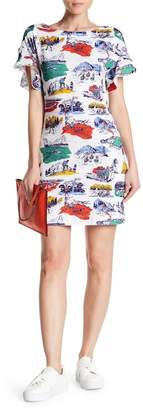 Love Moschino Camping Printed Flutter Sleeve T-Shirt Dress