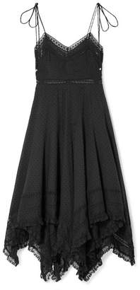 Zimmermann Juno Lace-trimmed Fil Coupé Cotton-voile Dress - Black