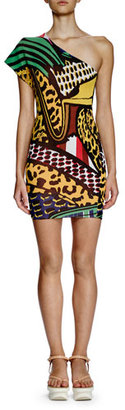 Stella McCartney One-Shoulder Printed Sheath Dress, Multi Colors $1,195 thestylecure.com