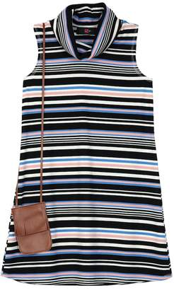 Amy Byer Iz Girls 7-16 IZ Multi-Stripe Ribbed Knit Mockneck Dress with Fringe Crossbody Purse