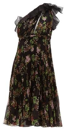 Giambattista Valli One Shoulder Floral Print Silk Georgette Dress - Womens - Black Multi