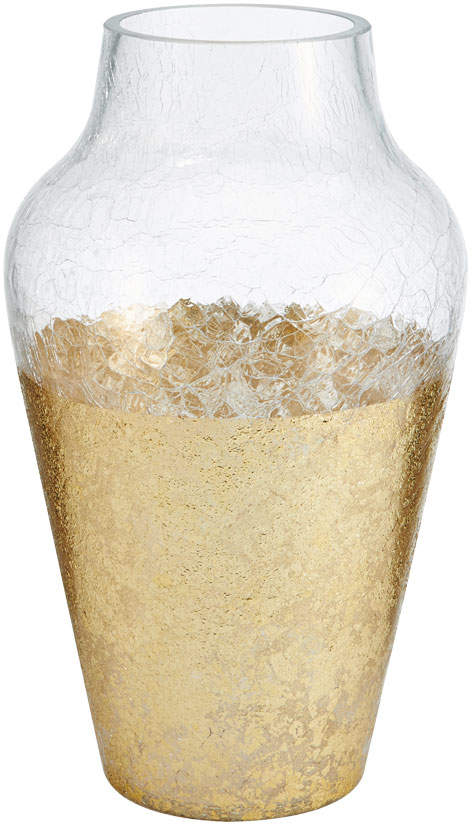 13.5 Inch Gold Crackle Glass Hurricane