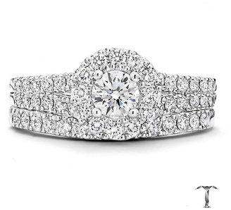 Tolkowsky Platinum 1ct round cut diamond bridal set