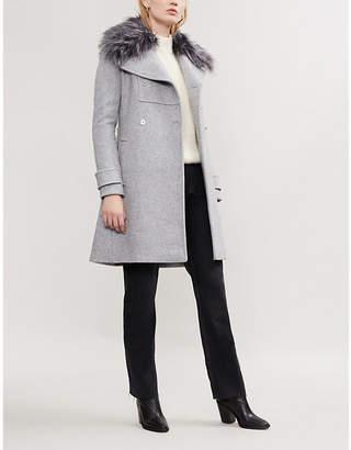 MICHAEL Michael Kors Faux fur-trimmed wool-blend coat