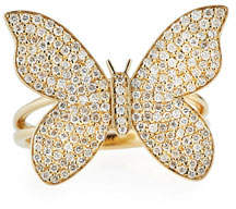 Sydney Evan Large Pave Diamond Butterfly Ring, Size 7.5