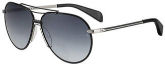 Rag & Bone Men's Metal Aviator Sunglasses with Dagger Temples