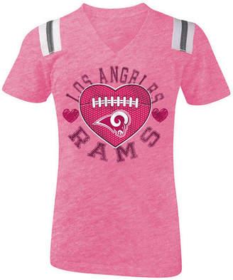 5th & Ocean Los Angeles Rams Pink Heart Football T-Shirt, Girls (4-16)