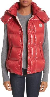 Moncler 'Galene' Water Resistant Shiny Nylon Hooded Down Vest