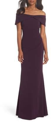 Eliza J Knot Front Off the Shoulder Gown