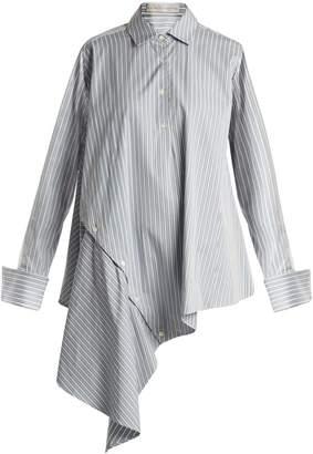 Palmer Harding PALMER/HARDING Striped asymmetric-hem cotton shirt