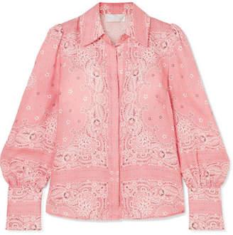 Zimmermann Heathers Bandana Printed Linen Shirt - Pink