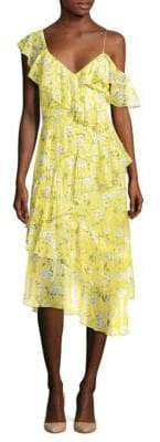 Alice + Olivia (アリス オリビア) - Alice + Olivia Olympia Floral Ruffle Midi Dress
