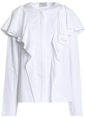 Lanvin Ruffled Cotton-Faille Blouse